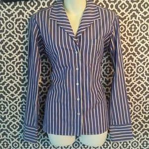 Ralph Lauren Black Label Striped Button Up Blouse